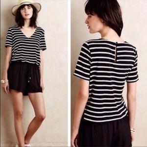 Elevenses Black And White Striped Romper
